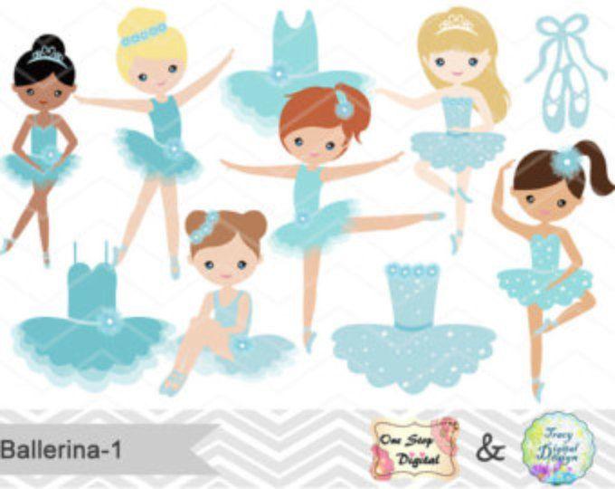 Digital Ballerina Clipart, Blue Ballet Girl Clip Art, Dancing Girl Clipart, Blue Ballet Dancer Clip Art, Cute Little Girl Clipart  0181