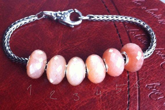 Natural Peach Moonstone gemstone bead for Pandora от WiseOwlBead