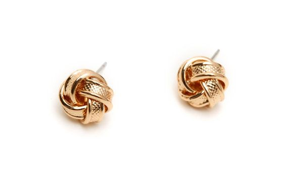 Gold Knot Earrings  Love Knot Stud Earrings by LemonHoneyJewelry