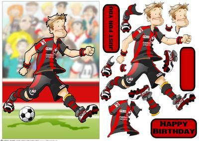Football Dude Black and Red on Craftsuprint designed by Gordon Fraser - Football Dude goes for the hat-trick then heads off home to Bournemouth. Easy to make with decoupage, blank and sentiment tiles. Great for Fathers Day, Birthdays or any sports fan! More versions of this design are available. Don't forget to check out my countless other football Dude designs! - Now available for download!