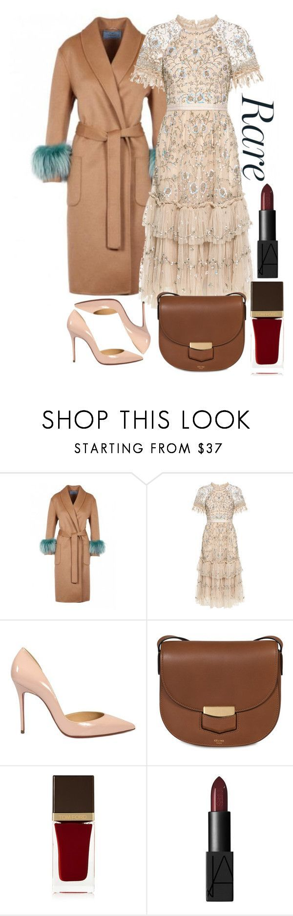 """""""Fabulously Festive"""" by shopunder ❤ liked on Polyvore featuring Prada, Needle & Thread, Christian Louboutin, CÉLINE and Tom Ford #churchoutfits"""