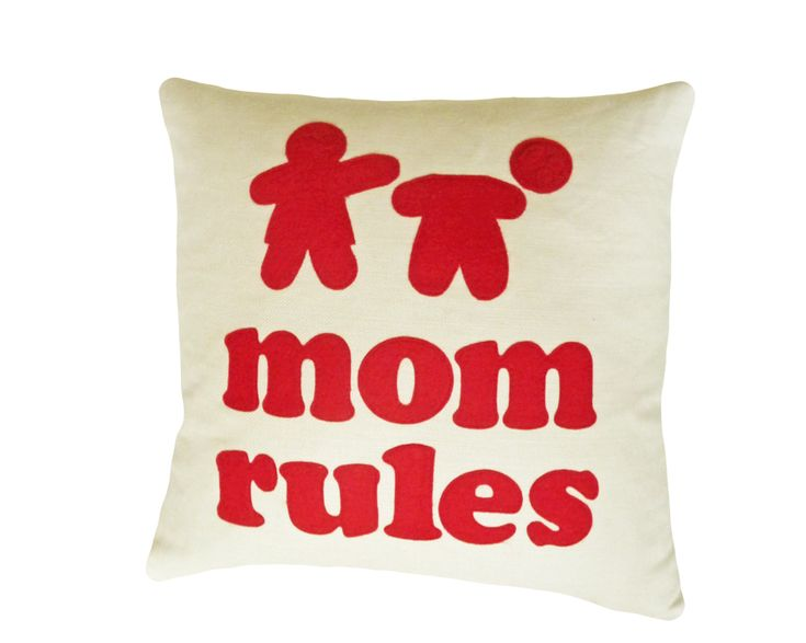 MOM RULES Throw Pillow and many more gift ideas for her on her special day.