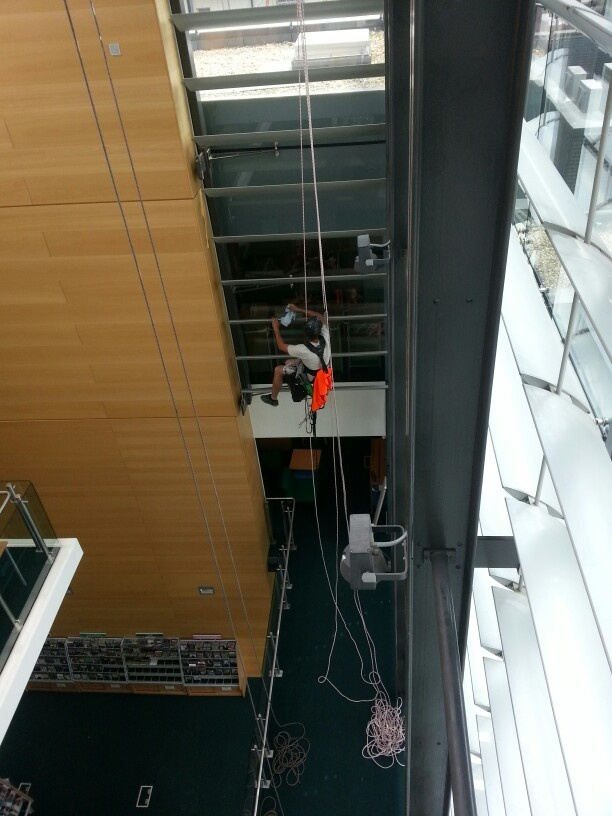 Busy window cleaning inside Brighton library!