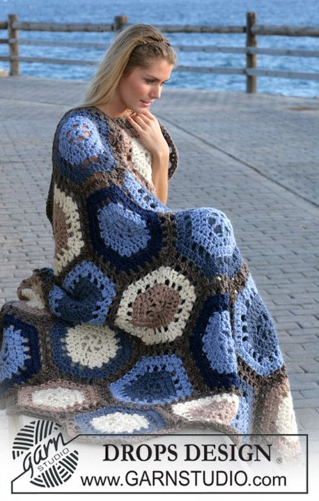 "Sand And Sea - Gehäkelte DROPS Decke mit Sechsecken in ""Eskimo"" - Free pattern by DROPS Design"