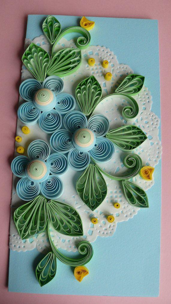 Quilling Art Greeting Card Birthday  Wedding  by Evashop74 on Etsy