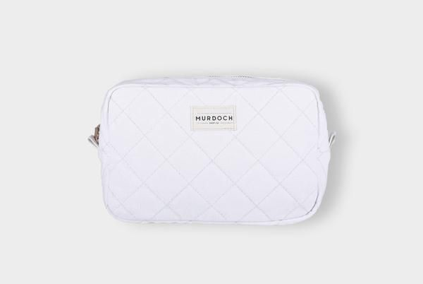 White Quilted Wash Bag