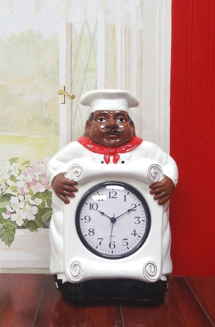 Amazon Com African American Black Happy Bistro Chef Kitchen Wall Clock Chef Decor 89092 By