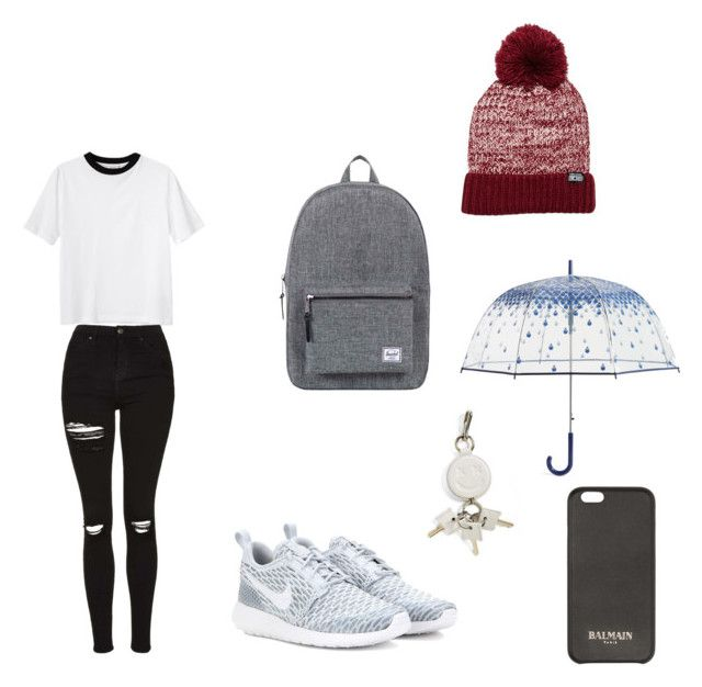"""Rainy day"" by lily-witte on Polyvore featuring Monki, Topshop, NIKE, Herschel Supply Co., Converse, Vera Bradley, Balmain and Alexander Wang"