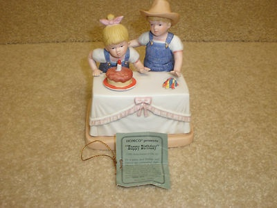 1985 Home Interiors Porcelain Denim Days Happy Birthday