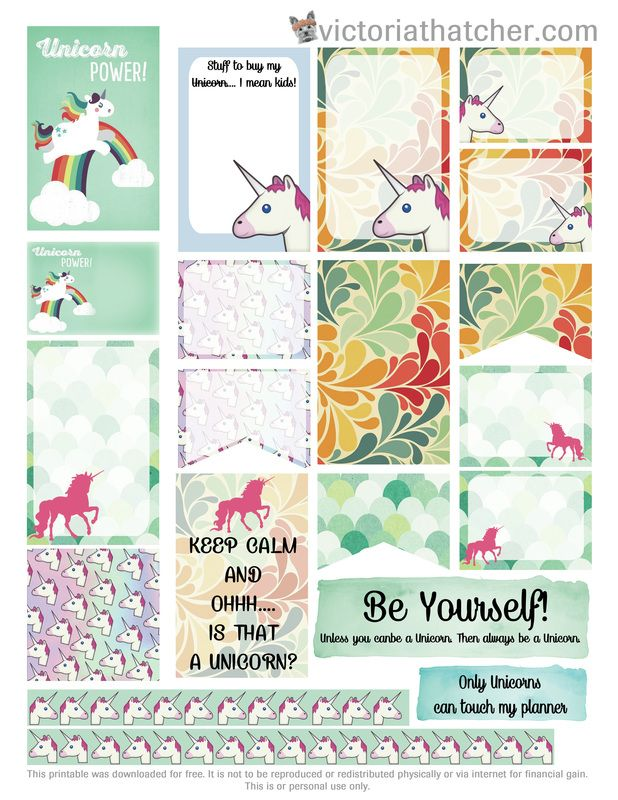 Free Printable Unicorn Planner Stickers from Victoria Thatcher