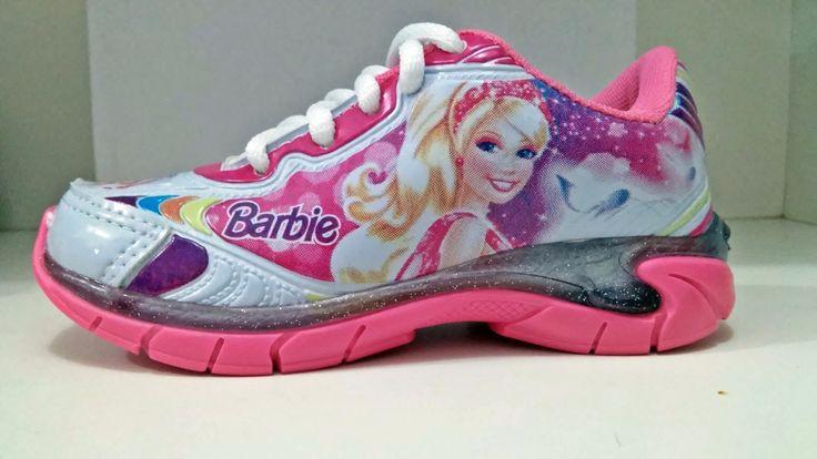 tenis barbie, com luz, branco/rosa