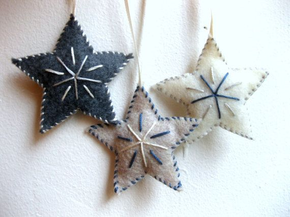 Star felt Christmas ornaments set - handmade hand-stitched folk art