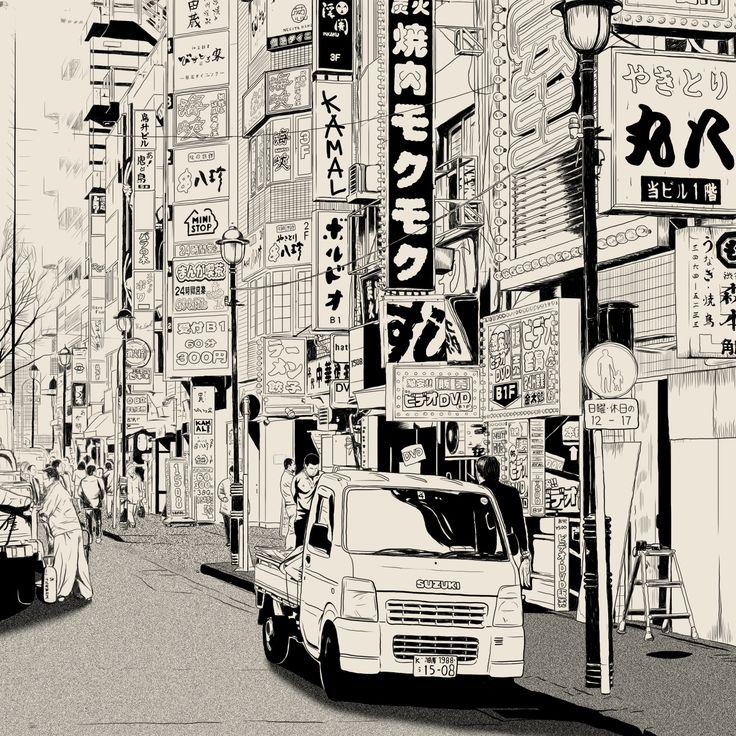 Japanese Street, artwork by : Kamal Kurniawan