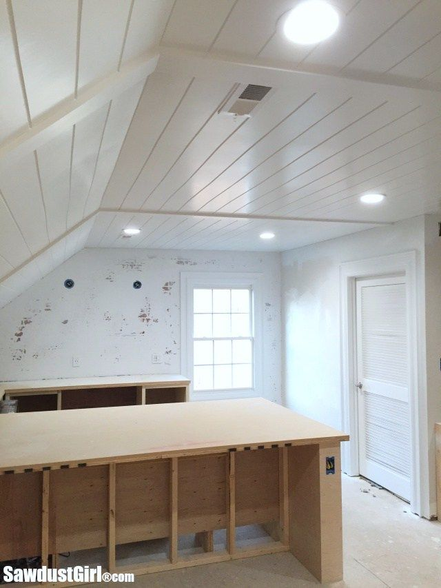 I finished my plywood plank ceiling and I LOVE it! I wanted to cover my