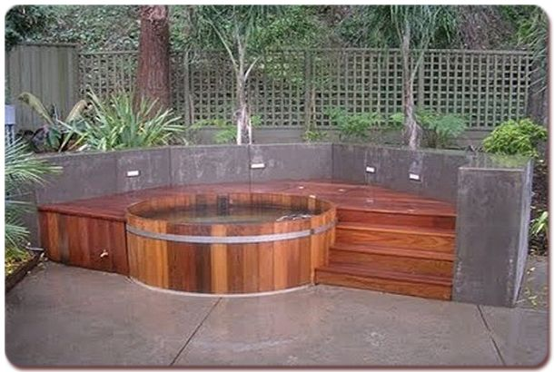 Built in hot tub another traditional wood hot tub with - Jacuzzi spa exterior ...