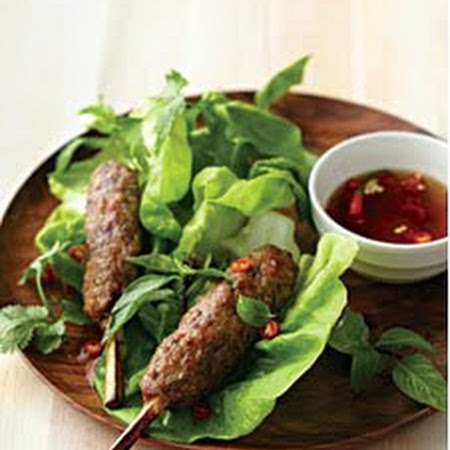 Vietnamese Kebabs with Sugarcane Skewers, Dipping Sauce, and Lettuce Cups