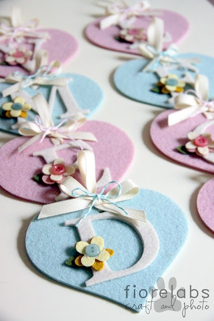 felt hearts with monograms. Great idea for a garland or banner.
