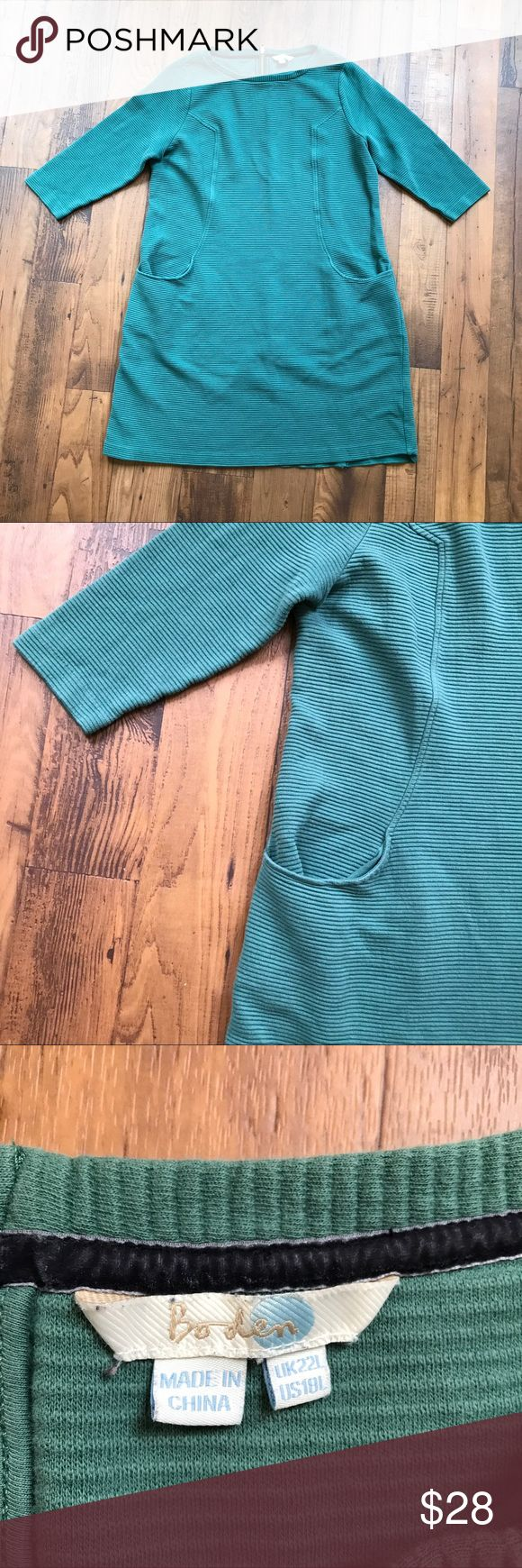 """Boden Green Sweater Dress Pockets Exposed Zipper Boden green sweater/sweatshirt dress. There are pockets on the front and an exposed zipper on the back. It is a size 18L. Armpit to armpit is about 22"""". The length of the dress is about 37"""". Boden Dresses"""