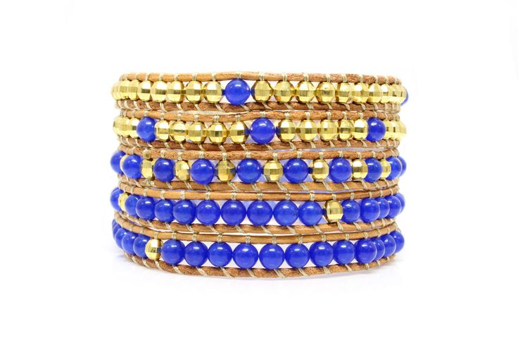 BLUE CREEK Wrap Bracelet by #Beautiz. Beautiful 5 layer handcrafted leather wrap bracelet. Real Lapis Lazuli stones with golden beads. Stainless Steel and Nickel-Free Clasp. Shop here:  http://www.beautiz.net/english/fashion-jewelry/bracelets/wrap-bracelets/blue-creek-wrap-bracelet.html