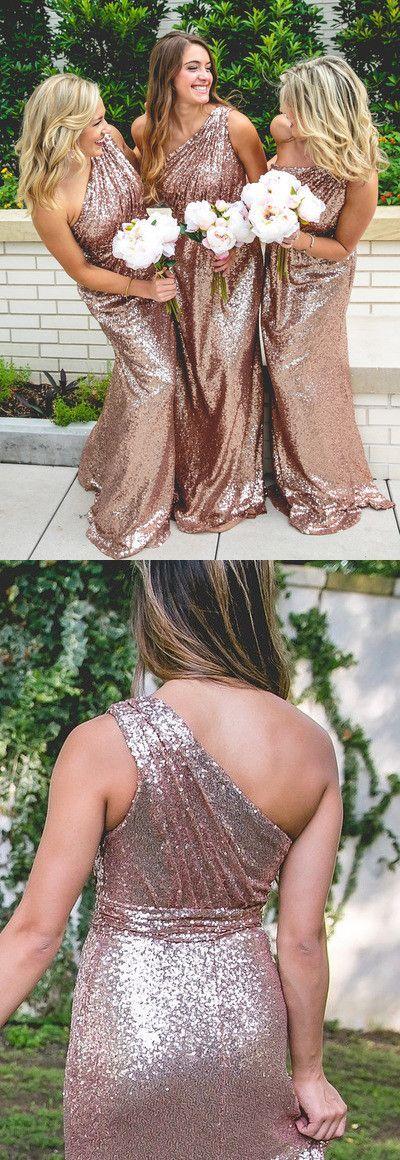 one shoulder rose gold bridesmaid dresses,elegant wedding party dresses, sparkle evening dresses, vestidos, klied