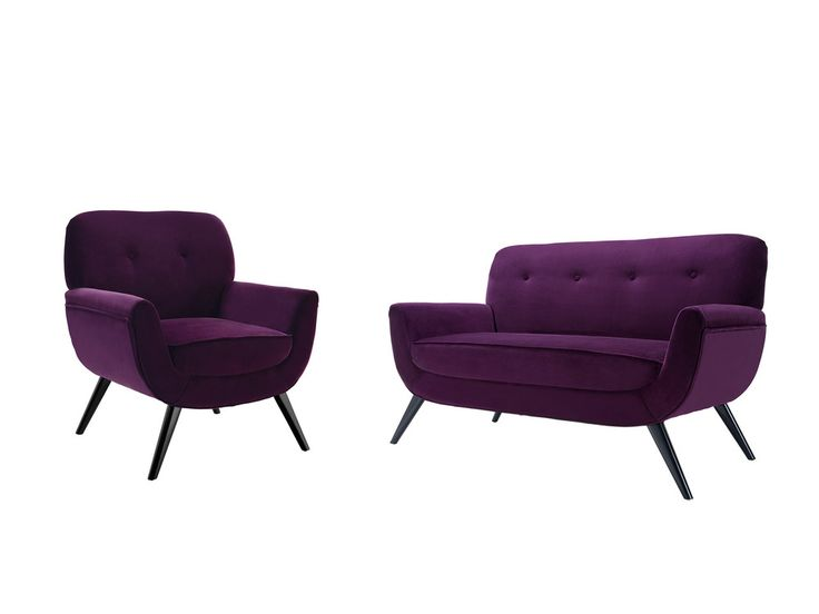 Ensemble Canapé et fauteuil en coton velours avec pieds bois BEETHOVEN