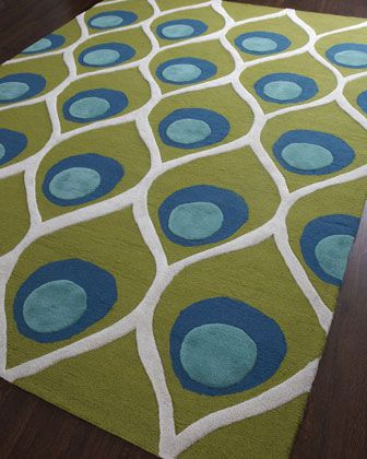 """""""Bold Peacock"""" Rug by Global Views at Horchow."""