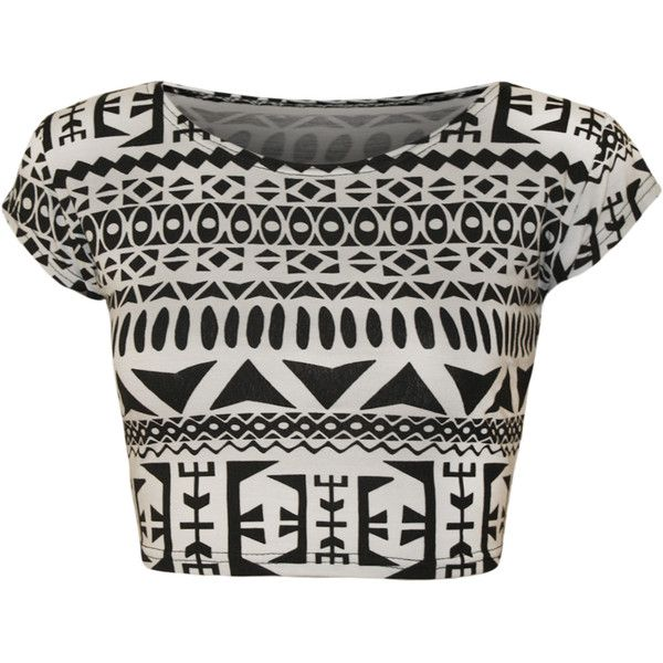 Brea Aztec Cap Sleeve Crop Top (£6) ❤ liked on Polyvore featuring tops, crop tops, shirts, blusas, t-shirts, big aztec, aztec shirt, print crop top, aztec print shirt and shirts & tops