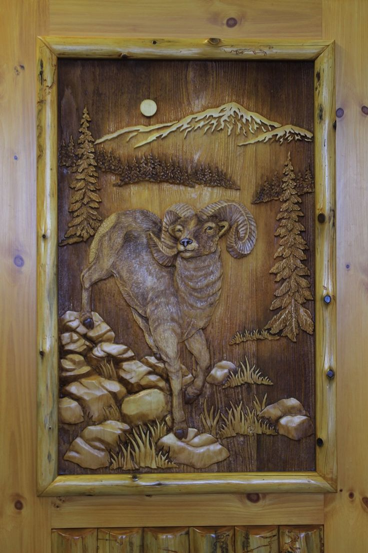 carved big horn sheep in door & 118 best Beautiful Carved Wood Doors images on Pinterest | Windows ...