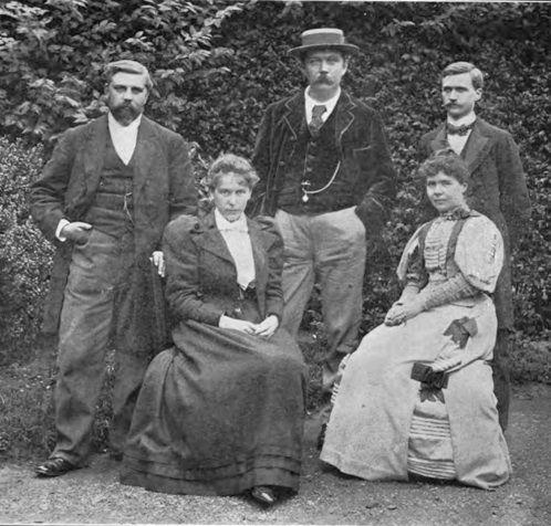 From left to right : Robert Barr, Miss Doyle, Arthur Conan Doyle, Mrs. Conan Doyle (Louisa Hawkins), Robert McClure. 1904.