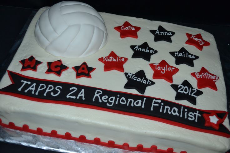 Volleyball - Vollleyball championship cake - red & black stars