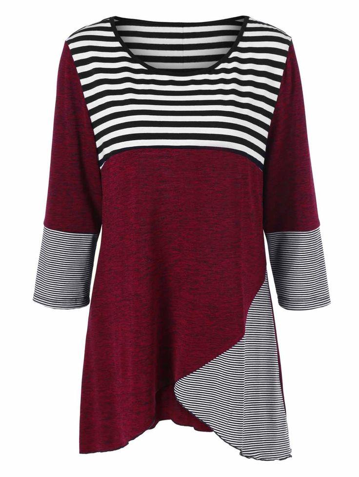 | Black Friday Sale: Extra 15% OFF Using Code SAMMY2016 | Plus Size Striped Trim Button Decorated T-Shirt in Stripe | Sammydress.com