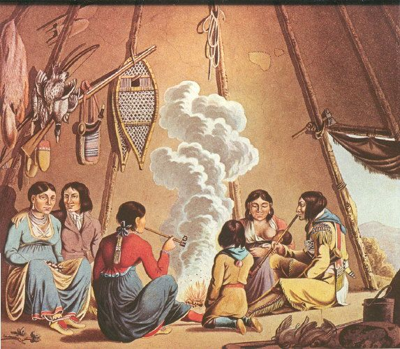 Tent at Red River, 1821: A 15 year old artist, Peter Rindisbacher, an immigrant from Switzerland, painted this well known family scene inside a tent on the site where Fort Garry would later be built.