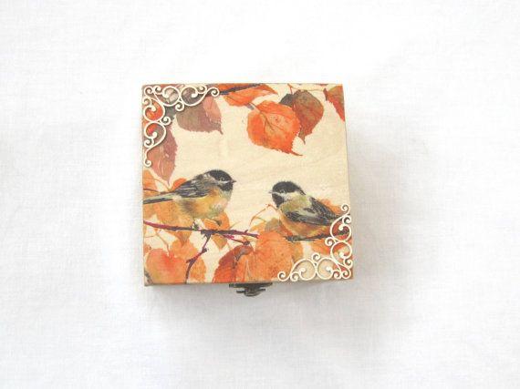 Autumn box , wooden decoupage treasures box , rustic wedding box , fall gift in natural tones.