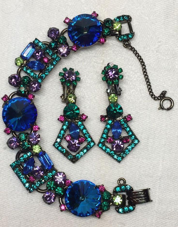 Rare DECO Vintage JULIANA D&E Bracelet and Earrings SET Gun Metal RIVOLI #Juliana