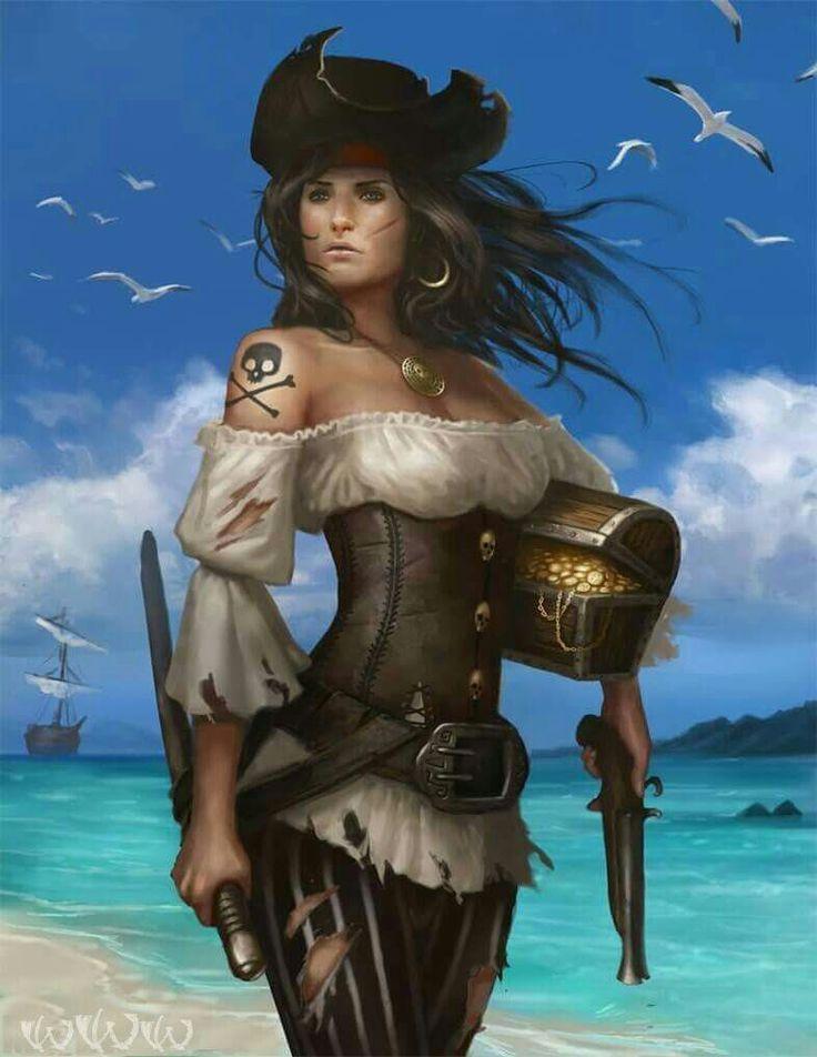 Nude naughty pirate women