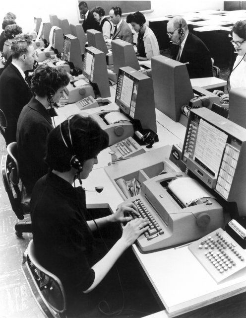 SABRE Reservation system (1960). An outgrowth of the SAGE miltary computer system for tracking aircraft, SABRE was the first commercial computer-based airline reservation system when it came online in 1962. A version of this system is still used to handle airline reservations today.