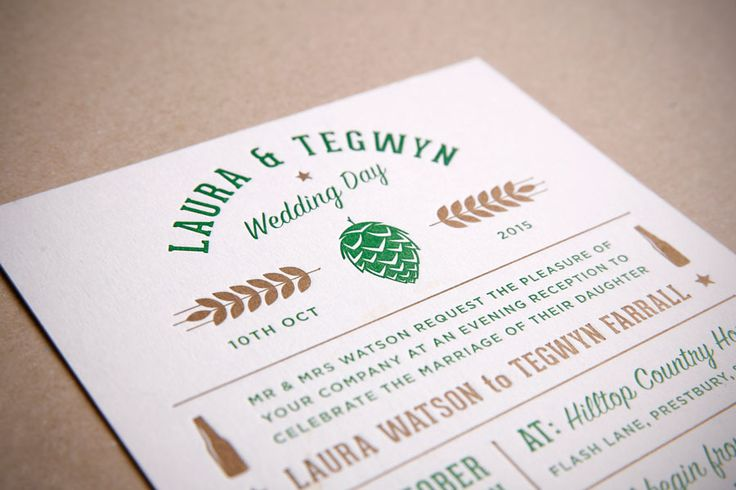 Craft Beer Inspired Letterpress Wedding Invitation & Beer Mats. Designed by www.toandfrom.co.uk