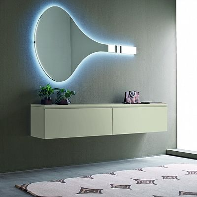 Idea modern wall mounted sideboard with Led mirror by Birex