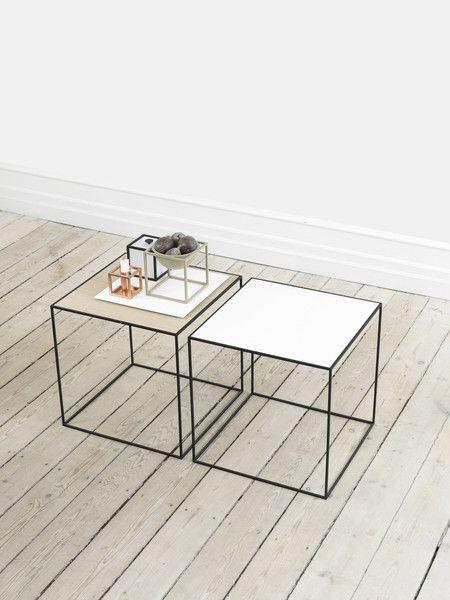 Stolik Twin table- biało, dębowy | Designzoo