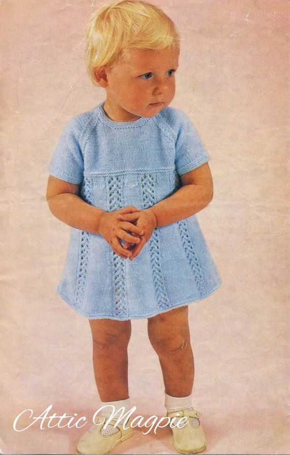 Vintage Baby Knitting Pattern Girl's Knitted Dress by AtticMagpie