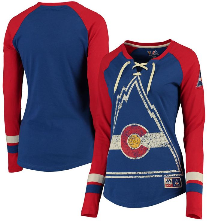 CO Rockies Majestic Women's Vintage Hip Check Lacer Long Sleeve T-Shirt - Navy