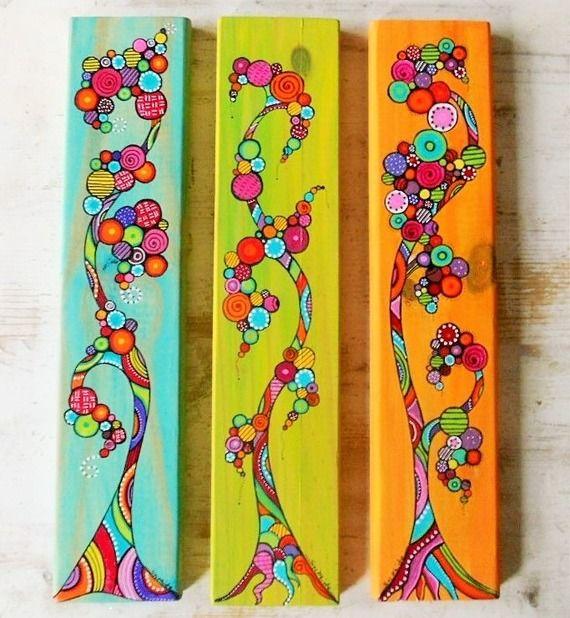 """Peinture sur lame de bois """"L'arbre aux couleurs"""""""