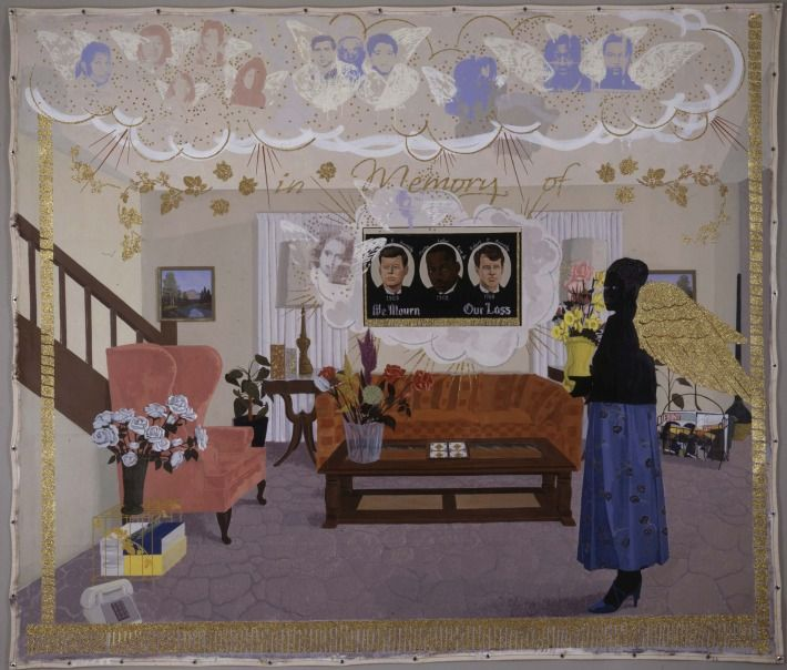 kerry james marshall/Souvenir II, 1997 acrylic, collage and glitter on unstretched canvas banner 108 x 156 inches