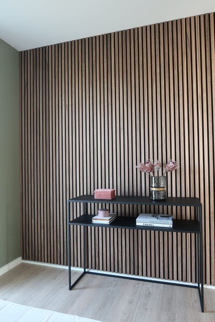Wooden Slat Wall In 2020 Wood Paneling Walnut Living Room Slat Wall
