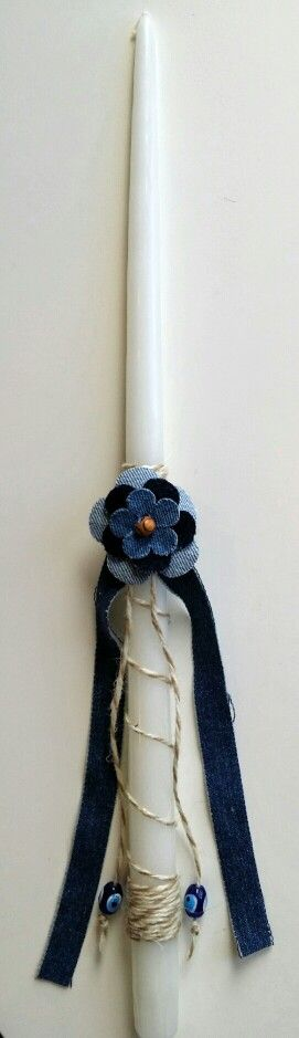 "18"" easter candle lambada. Newest style  jean flower with twine. $20 contact us at maro@oneiromou.com"