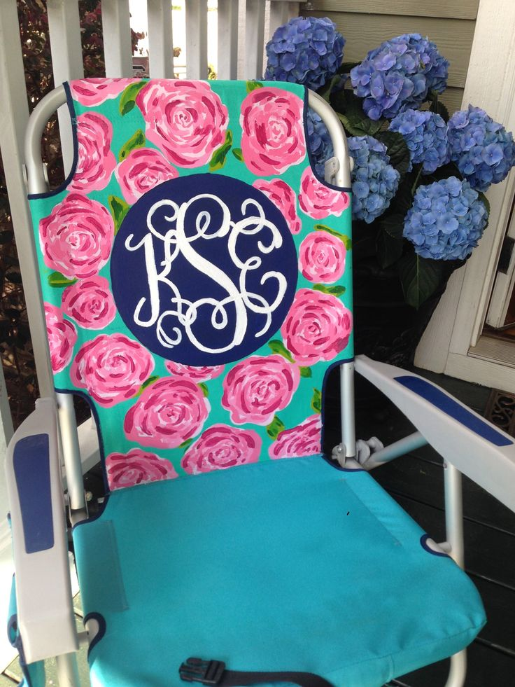 hand painted monogram beach chair  lilly pulitzer inspired pattern  first impressions