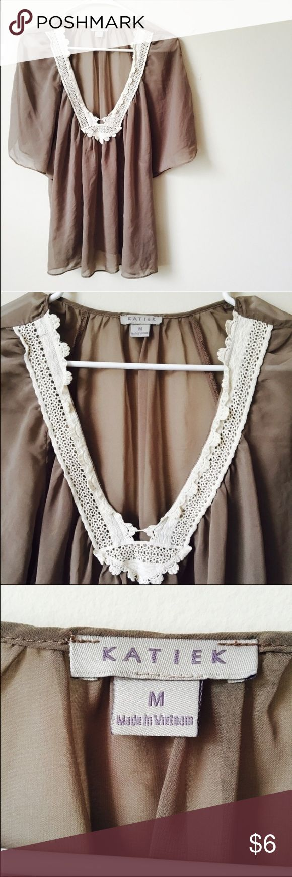 🌺Cute see through  blouse!🌺 This is a super cute brown see through blouse! Size medium! There are no flaws! Please ask if you have any questions! Excepting all offers!🌺 Katiek Tops Blouses
