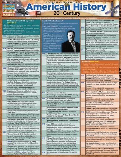 American History 20th Century Laminated Reference Guide A concise, information-packed overview of U.S. history from 1900–2001, our 3-panel (6-page) guide covers key events in our nation's history duri