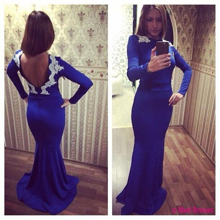 2018 Royal Blue Backless Mermaid Prom Dresses Plus Size Long Sleeves Women's Pageant Dress PD20186759