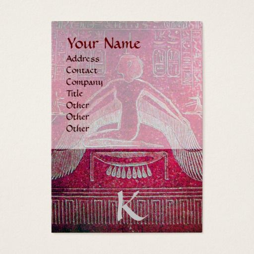 ISIS EGYPTIAN MONOGRAM, bright pink purple white Business Card #Archaeologist #Archeology #egypt #antique #tarots
